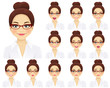 Business woman with different facial expressions set isolated
