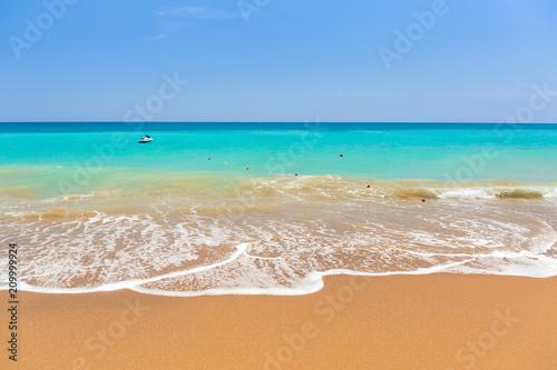 Blue lagoon of the beach on Turkish Riviera near Side