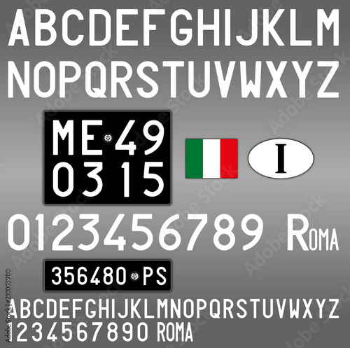 Italy Old Car License Plate Letters Numbers And Symbols Vintage