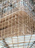 In Hong Kong and China and other parts of Asia, bamboo is often used for scaffolding for real estate construction in place of steel or iron scaffolds
