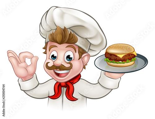 Cartoon Character Chef Holding Burger - 210004764