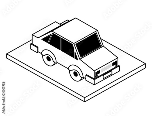 Fridge magnet sedan car isometric icon vector illustration design