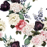 Seamless floral pattern with roses, watercolor. Vector illustration. - 210016398