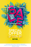 Summer sale Special offer with paper cut blue leaves. Floral background, frame concept for banner and poster. Paper art cut out style, vector illustration. Bright material design - 210017161