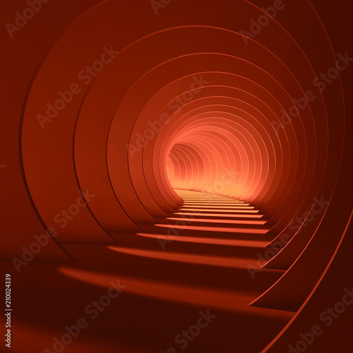 Abstract red tunnel with glowing end