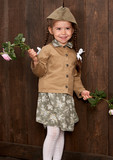 child girl are dressed as soldier in retro military uniforms - 210026730