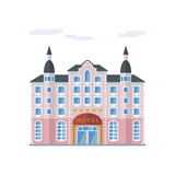 Grand Hotel flat design vector illustration - 210027597