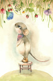 Cartoon watercolor mouse