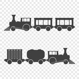 Icon of locomotives with passenger and freight traffic. Vector illustration on a transparent background.