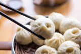 Steamed Xiaolongbao with chopsticks
