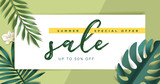 Summer sale vector illustration for mobile and social media banner, poster, shopping ads, marketing material - 210048576