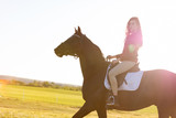 Young girl riding a dark horse in a field on a sunset - 210051175