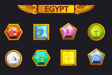 Egypt precious and multi-colored stones, game assets icons - 210053727