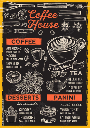 Wall mural Coffee restaurant menu. Vector drink flyer for bar and cafe. Design template with vintage hand-drawn food illustrations.