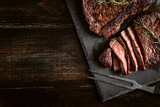 dinner for two with steaks and red wine - 210059167
