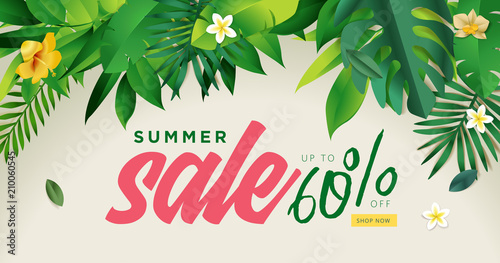 Summer sale vector illustration for mobile and social media banner, poster, shopping ads, marketing material.  - 210060545