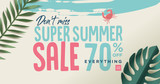 Summer sale vector illustration for mobile and social media banner, poster, shopping ads, marketing material.  - 210060988