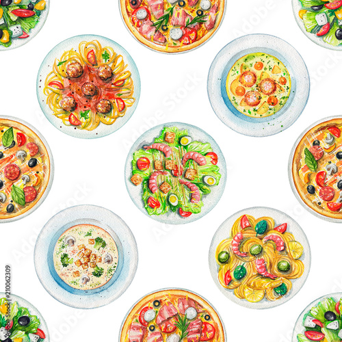 Seamless pattern with salads, pasta, pizzas and soups on white background. Watercolor hand painted illustration