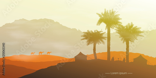 Fototapeta Landscape of the desert with camels and palm trees.