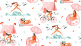 Hand drawn vector abstract graphic cartoon summer time flat illustrations seamless pattern with beauty sport girls,relaxing,running and ridding on bike isolated on white background - 210064375