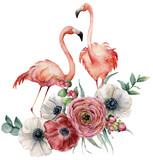 Watercolor flamingo with ranunculus bouquet. Hand painted exotic birds with anemone, eucalyptus leaves and branch isolated on white background. Wildlife illustration for design, print or background. - 210065134