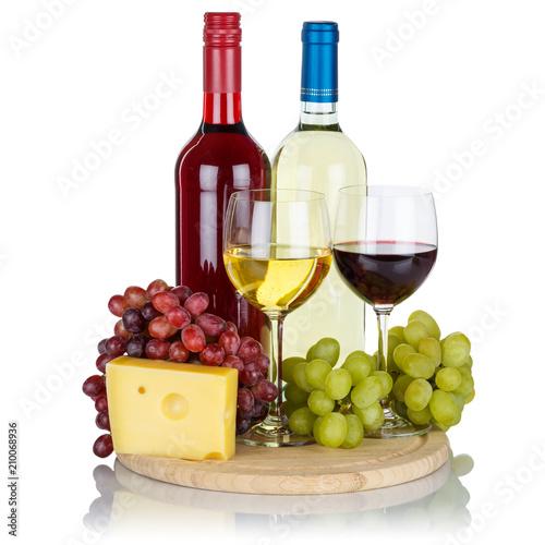 Wein Käse Weine Weißwein Weisswein Rotwein Quadrat Weintrauben Trauben isoliert Freisteller - 210068936