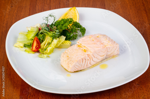 Foto Murales Delicious steamed salmon