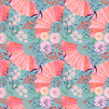 Seamless colorful floral pattern background in Japanese style.