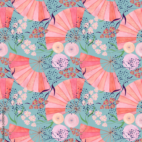 Seamless colorful floral pattern background in Japanese style. - 210074500