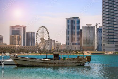 Aluminium Abu Dhabi Panoramic sunset city skyline. Abu Dhabi