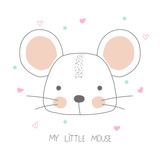 Cute little mouse with lettering. Vector hand drawn illustration. - 210080328