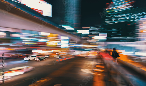 Aluminium Tokio Abstract blurred view of people and traffic crossing a busy intersection in Shibuya, Tokyo, Japan