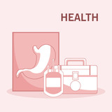 First aids suitcase and blood bag vector illustration graphic design - 210092936