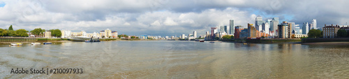 Panoramic view of the Thames River from Greewich in  London, England - 210097933