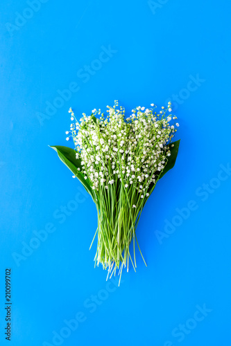 Fototapeta Small and fragrant spring flowers. Bouqet of lily of the valley flowers on pastel blue background top view copy space