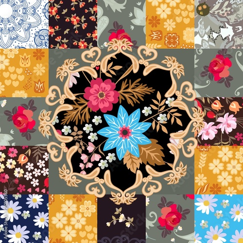 Endless patchwork pattern with cute floral and paisley ornament in vector. Indian, indonesian, turkish motives.  Stylization. Square greeting or invitation card.