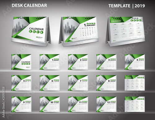 set desk calendar 2019 template design vector and desk calendar 3d