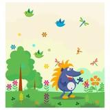 cute funny blue hedgehog in the garden cartoon character