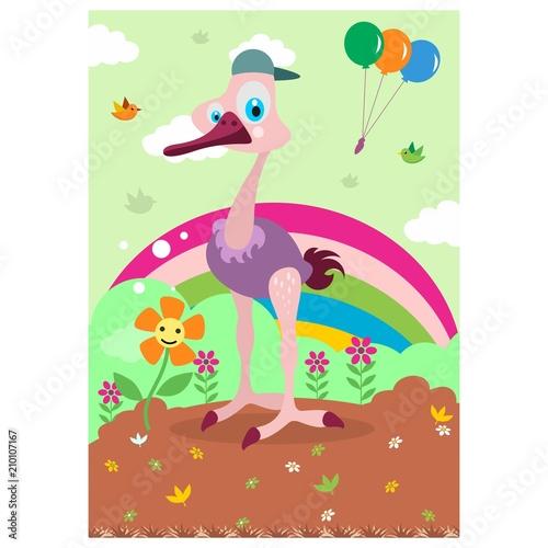 Naklejka cute funny ostrich in the rainbow gardencartoon character