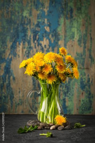 Foto Murales     Dandelion flowers on rustic  background. Vintage still life
