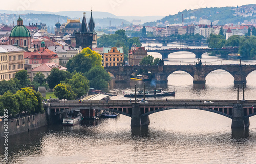 Plakat Bridges of Prague from Letna Garden in Prague, Czech Republic