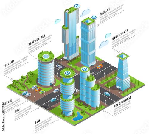 Isometric Futuristic Skyscrapers Infographics - 210111586
