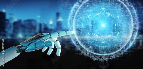 White robot hand using digital sphere connection hologram 3D rendering © sdecoret