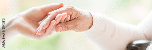 Close-up of tender gesture between two generations. Young woman holding hands with a senior lady. Blurred background. Panorama. - 210113313