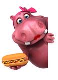 Pink Hippo - 3D Illustration - 210113737