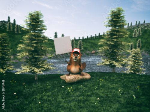 Obraz na płótnie Fun beaver - 3D Illustration