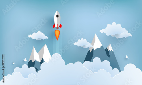 rocket illustration flying over cloud. beautiful scenery with white clouds - 210121787