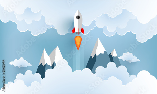 Fototapeta rocket illustration flying over cloud. beautiful scenery with white clouds