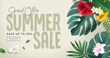 Summer sale banner design template. Vector illustration concept for internet marketing, poster, shopping ads, social media, web and graphic design. - 210122322