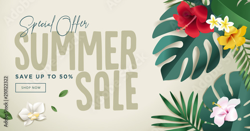 Summer sale banner design template. Vector illustration concept for internet marketing, poster, shopping ads, social media, web and graphic design. - 210122322